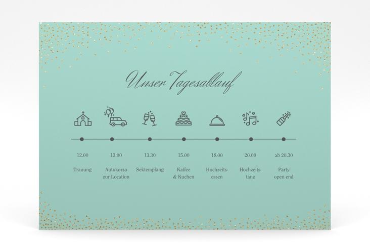"""Tagesablauf Poster Hochzeit """"Glitter"""" 70 x 50 cm Poster mint"""