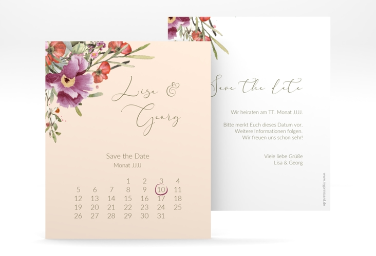"Save the Date-Kalenderblatt ""Rosey"" Kalenderblatt-Karte rosa"