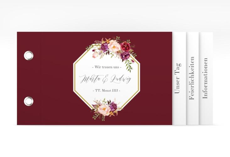 """Hochzeitseinladung """"Prachtvoll"""" Booklet rot"""