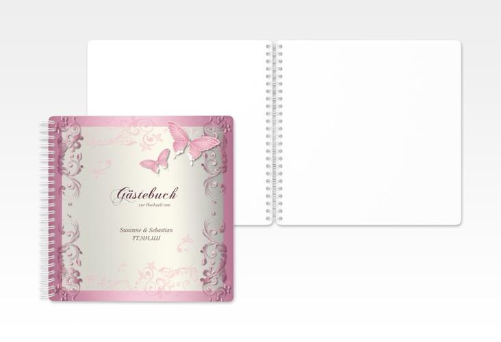 "Gästebuch Hochzeit ""Toulouse"" Ringbindung rosa"