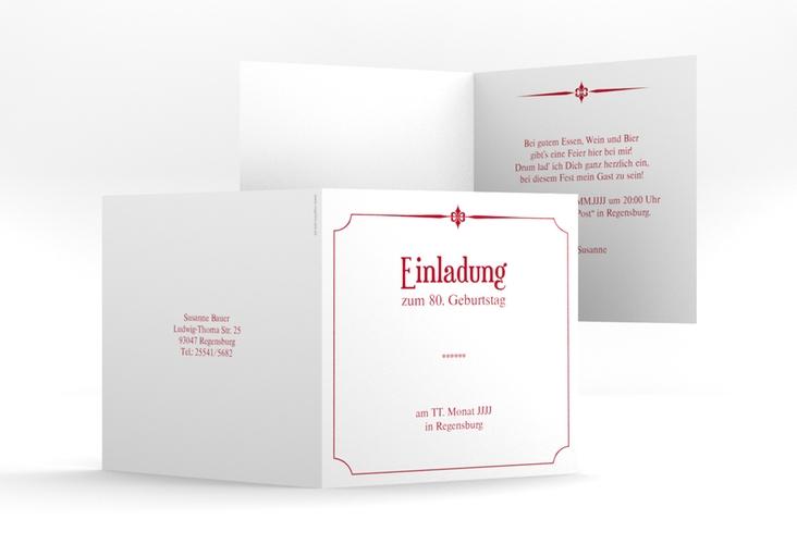 """Einladungskarte """"Helmut/Helmine"""" Quadratische Klappkarte rot"""