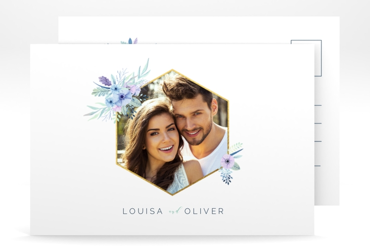 "Save the Date-Postkarte ""Silk"" A6 Postkarte weiss"
