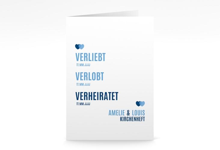 """Kirchenheft Hochzeit """"Couple"""" DIN A5 geklappt blau"""