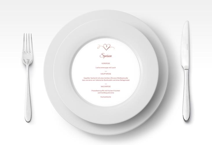 """Menükarte Hochzeit """"Envie"""" rund rot"""