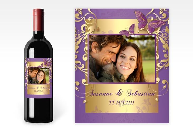 """Weinflaschenetikett Hochzeit """"Toulouse"""" Etikett Weinflasche 4er Set lila"""