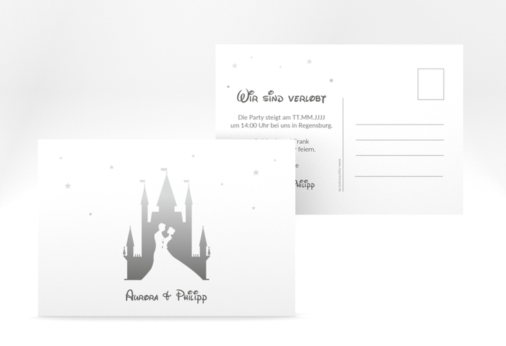 """Verlobungskarte Hochzeit """"Castle"""" A6 Postkarte grau"""