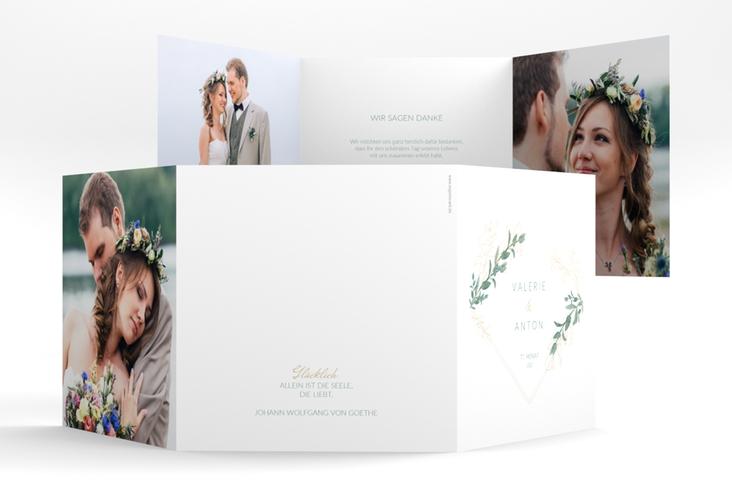 """Danksagungskarte Hochzeit """"Verde"""" Quadr. Karte doppelt weiss"""
