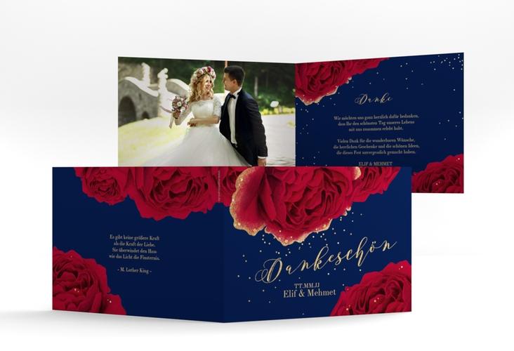 "Danksagungskarte Hochzeit ""Cherie"" A6 Klappkarte Quer"