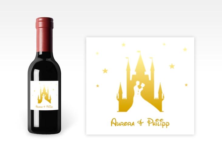 "Piccoloetikett Hochzeit ""Castle"" Etikett Piccolo gold"