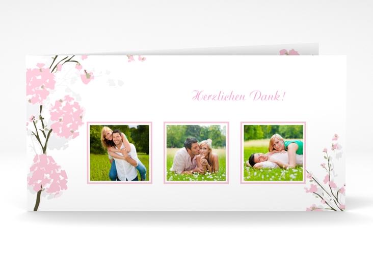 "Danksagungskarte Hochzeit ""Salerno"" DIN lang Klappkarte rosa"