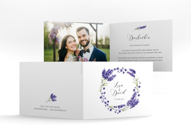 """Dankeskarte Hochzeit """"Lavendel"""" A6 Klappkarte Quer"""