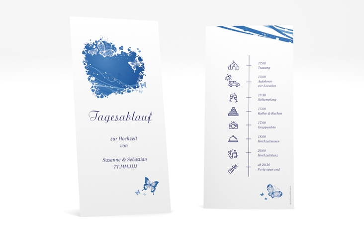 """Tagesablauf Hochzeit """"Mailand"""" DIN lang hoch blau"""