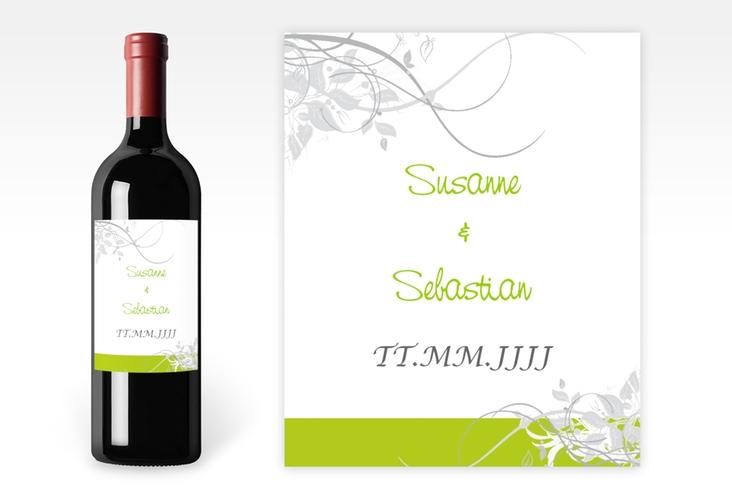 """Weinflaschenetikett Hochzeit """"Florenz"""" Etikett Weinflasche 4er Set gruen"""