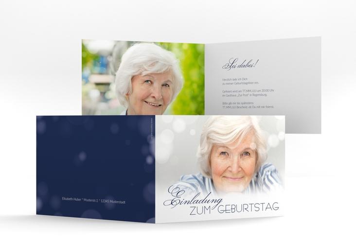 "Einladungskarte ""Luminous"" A6 Klappkarte Quer blau"