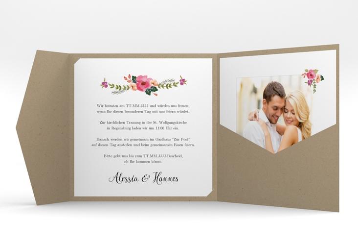 """Hochzeitseinladung """"Fiore"""" Pocketfold"""