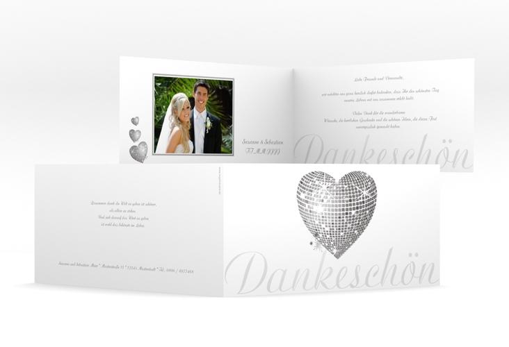 "Danksagungskarte Hochzeit ""Rimini"" DIN lang Klappkarte grau"