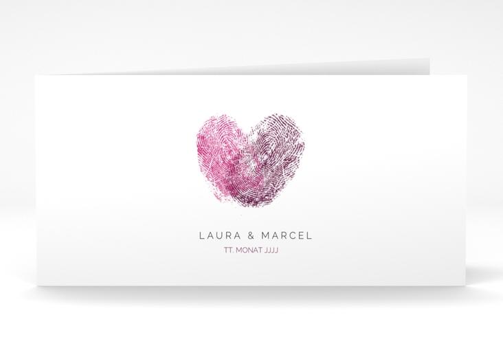 "Dankeskarte Hochzeit ""Fingerprint"" DIN lang Klappkarte pink"