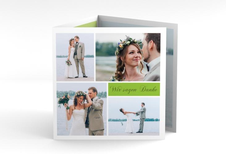 "Dankeskarte Hochzeit ""Collage"" Quadr. Karte doppelt gruen"