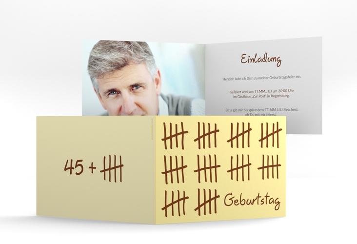 """Einladungskarte """"Strichliste"""" A6 Klappkarte Quer beige"""