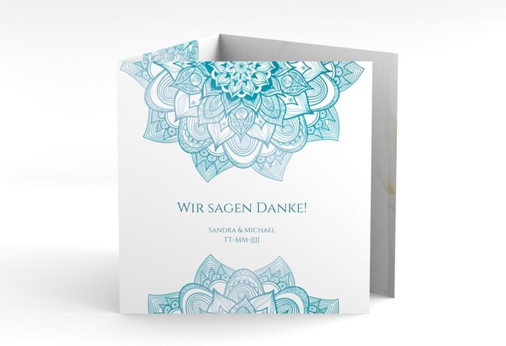 """Dankeskarte Hochzeit """"Delight"""" Quadr. Karte doppelt tuerkis"""