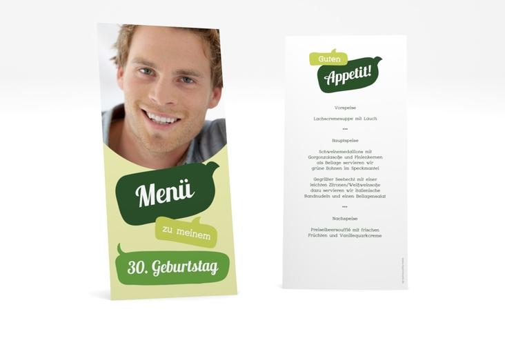 "Menükarte Geburtstag ""Whatsup"" DIN lang hoch gruen"