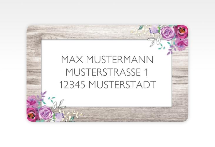 """Empfängeretikett Hochzeit """"Flourish"""" 63,5 x 38,1 mm weiss"""