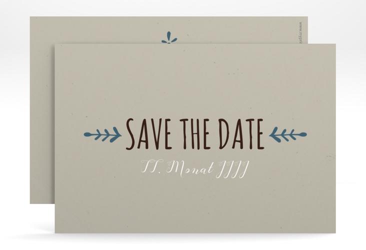 """Save the Date-Karte Hochzeit """"Eden"""" A6 quer blau"""