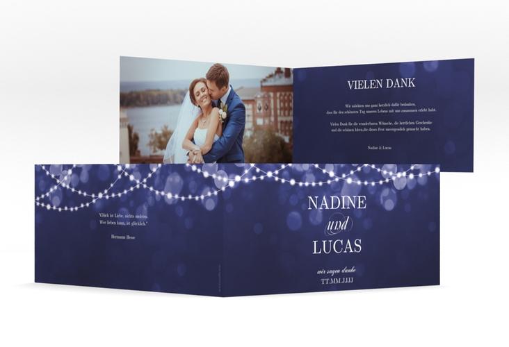 """Danksagung Hochzeit """"Lichtspiel"""" DIN lang Klappkarte blau"""