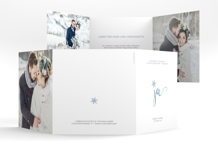 "Dankeskarte Hochzeit ""Snowflake"" Quadr. Karte doppelt blau"