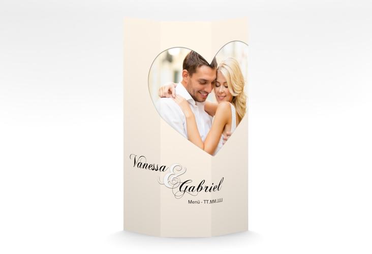 """Menükarte Hochzeit """"Sweetheart"""" DIN A4 Wickelfalz beige"""