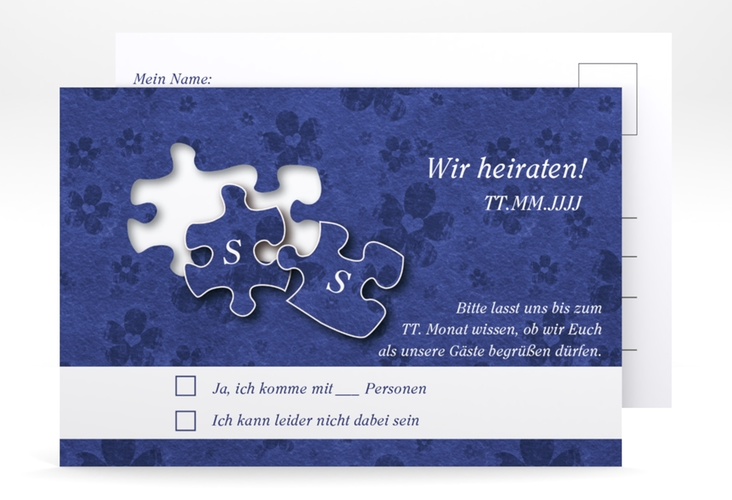 """Antwortkarte Hochzeit """"Ravensburg"""" A6 Postkarte blau"""