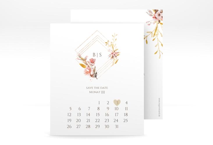 "Save the Date-Kalenderblatt ""Rosalie"" Kalenderblatt-Karte weiss"