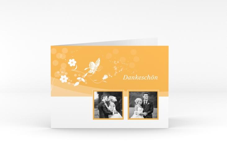 """Danksagungskarte Hochzeit """"Verona"""" A6 Klappkarte Quer orange"""