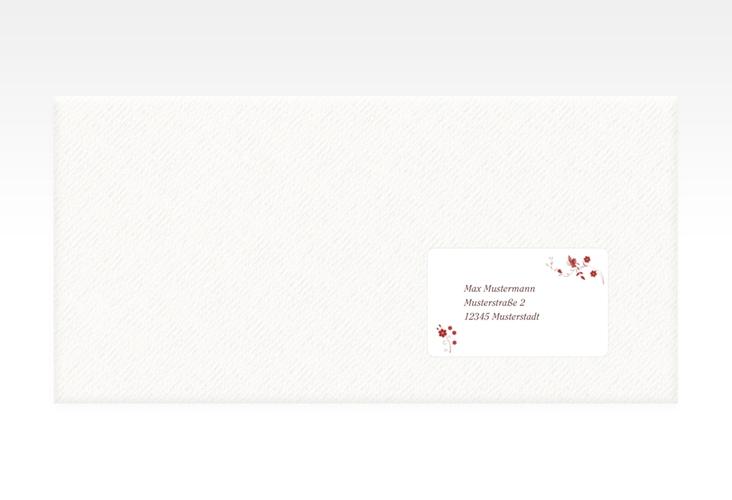 """Empfängeretikett Hochzeit """"Verona"""" 63,5 x 38,1 mm rot"""