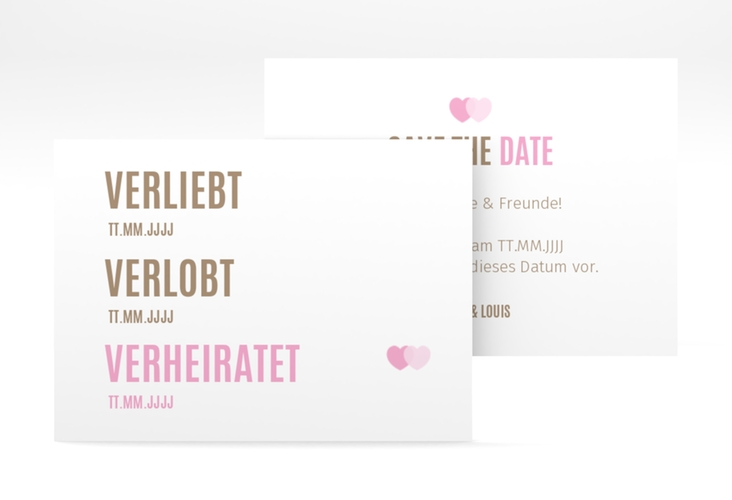 "Save the Date-Visitenkarte ""Couple"" Visitenkarte rosa"