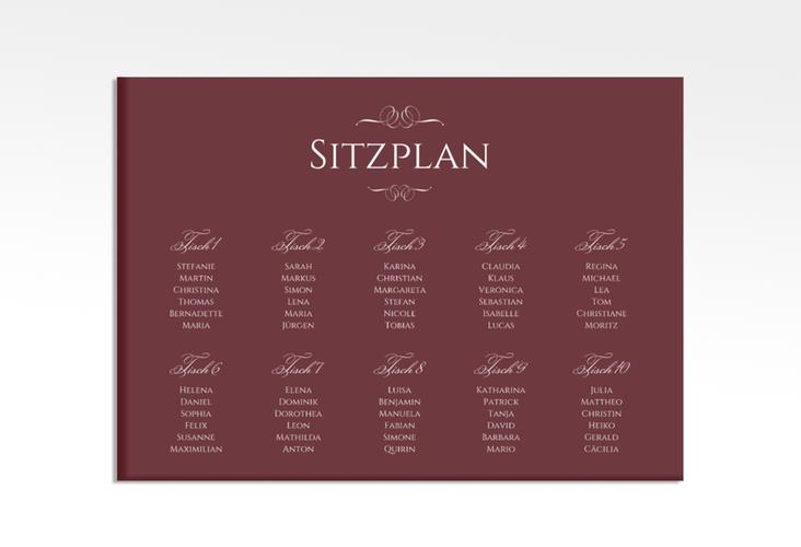 "Sitzplan Leinwand Hochzeit ""Elegancy"" 70 x 50 cm Leinwand rot"