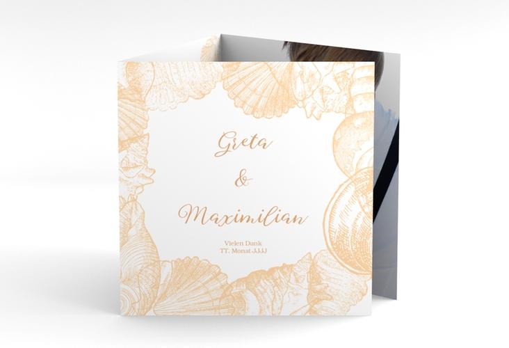 """Dankeskarte Hochzeit """"Muschelreich"""" Quadr. Karte doppelt beige"""