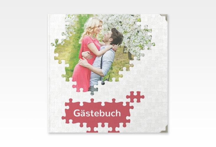 "Gästebuch Selection Hochzeit ""Puzzle"" Leinen-Hardcover rot"