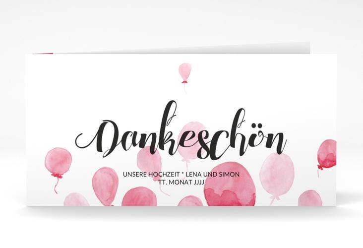 "Danksagungskarte Hochzeit ""Luftkuss"" DIN lang Klappkarte rot"