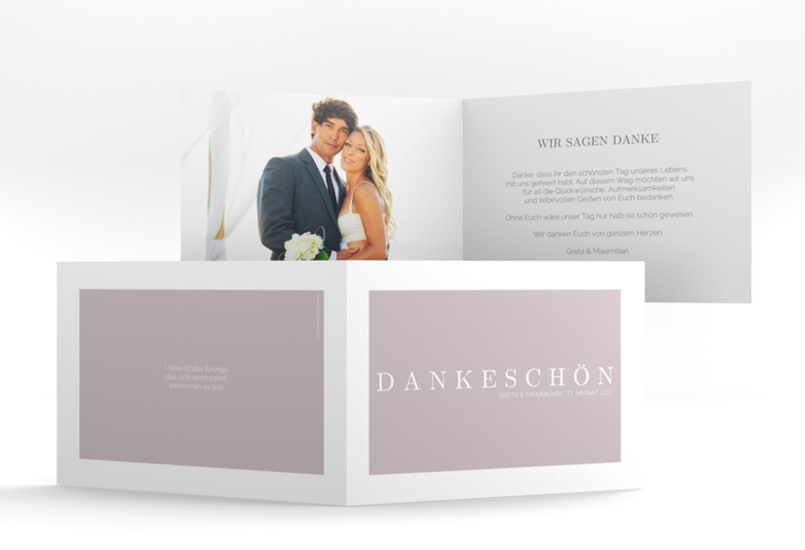 """Dankeskarte Hochzeit """"Simply"""" A6 Klappkarte Quer grau"""