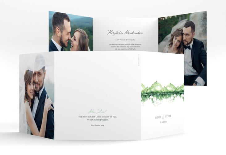"Dankeskarte Hochzeit ""Bergliebe"" Quadr. Karte doppelt gruen"
