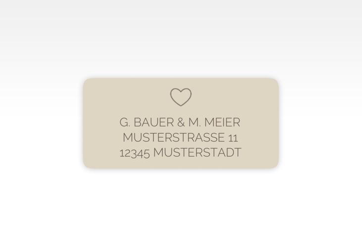"""Absenderetikett Hochzeit """"Lebenstraum"""" 45,7 x 21,2 mm beige"""