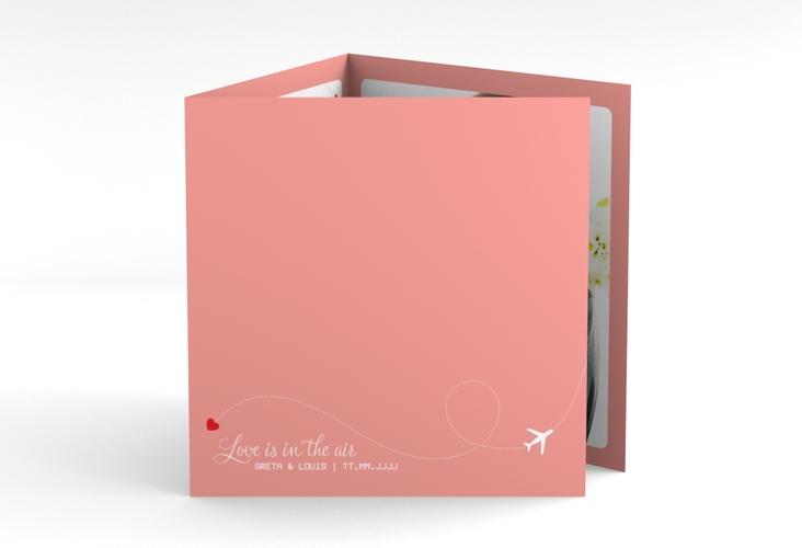 "Dankeskarte Hochzeit ""Weddingpass"" Quadr. Karte doppelt rosa"