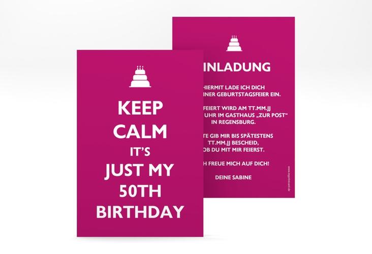 """Einladungskarte """"KeepCalm"""" A6 hoch pink"""
