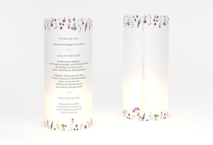 """Windlicht Menü Hochzeit """"Wildblumen"""" Windlicht weiss"""