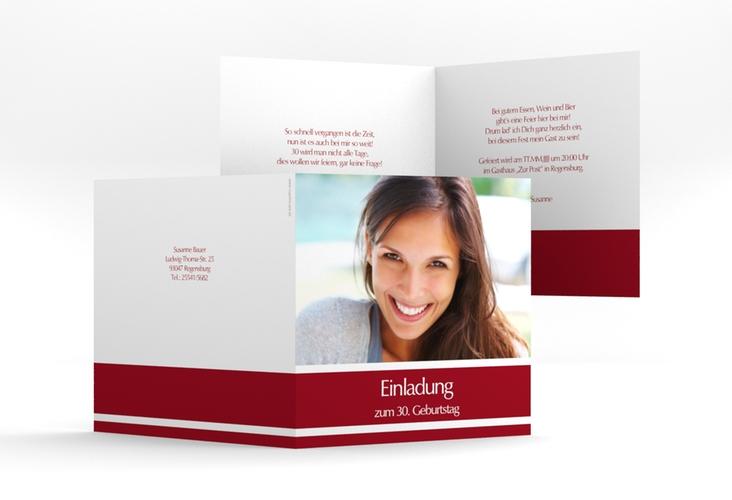 "Einladungskarte ""Gerd/Gerda"" Quadratische Klappkarte rot"