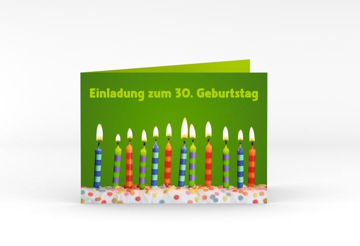 "Einladungskarte ""Candles"" A6 Klappkarte Quer gruen"