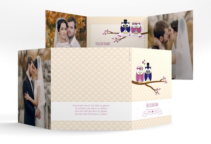 """Dankeskarte Hochzeit """"Eulenliebe"""" Quadr. Karte doppelt"""