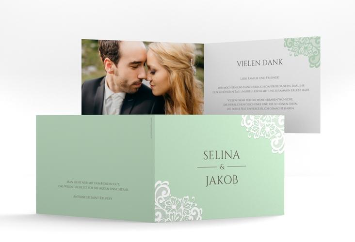 """Dankeskarte Hochzeit """"Vintage"""" A6 Klappkarte Quer mint"""