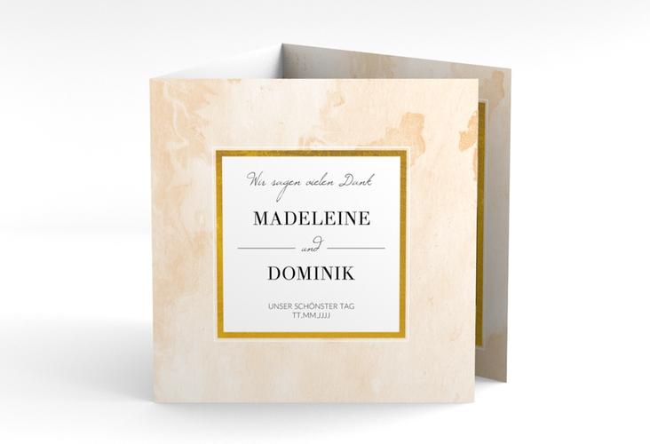 """Dankeskarte Hochzeit """"Marble"""" Quadr. Karte doppelt beige"""